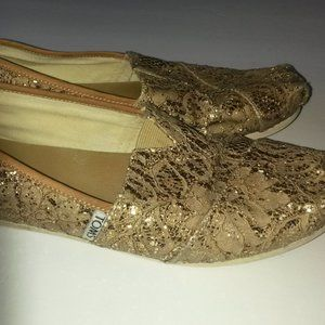 Toms Rose Gold Lace Glitz Women's Sz 7.5